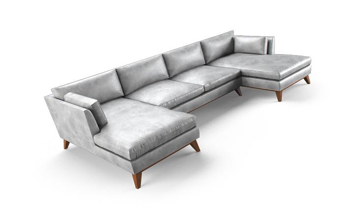 La brea leather u chaise sectional 3 piece fourstudio for 3 piece leather sectional sofa with chaise