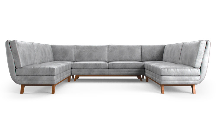 Calhoun Leather Armless U Sofa Sectional By Joybirdleather
