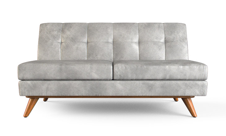 Hughes Leather Armless Loveseat By Joybird