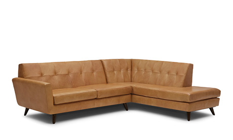 Hughes Leather Sectional with Bumper (2 piece)