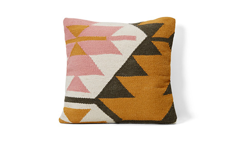 Geo Pink and Yellow Pillow